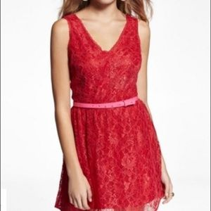 Express Red Lace sleeveless Cocktail dress women 4